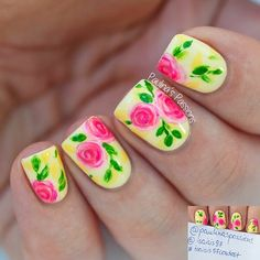 Neon Pink and Yellow Floral Nails