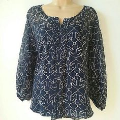 Coldwater Creek Medium 10 12 Blue Anchor Print Sheer Buttons Tunic w cami A1