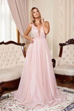rochie de seara lunga din voal roz prafuit