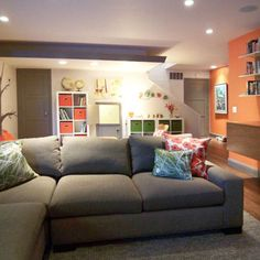 a finished basement with plenty of room for a play area for the kids and a relaxing family space. Black Bedroom Furniture Sets. Home Design Ideas
