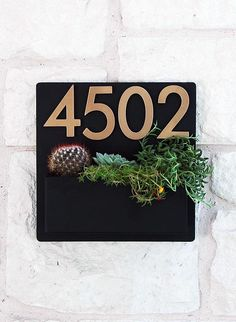 Hip to be Square Planter w/ Brass Numbers Address Sign House Address Numbers, Address Plaque, Metal Cleats, Modern Mailbox, Porch Posts, Colorful Succulents, Square Planters, Neodymium Magnets, Custom Metal