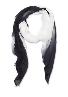 Goubi dipdyed cotton scarf - white and ocean