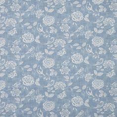 Denim Blue Bird Garden Curtain Fabric (terrysfabrics)