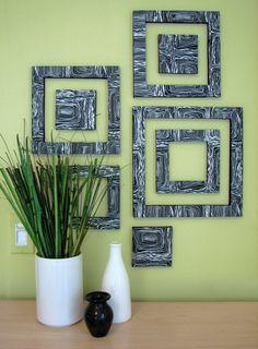 Геометрический чёрно-белый узор на стене