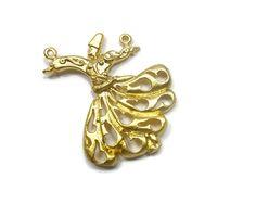 24K Matte Whirling Dervish, Semazen Pendant,  Sufi Pendant, Turkish Jewelry - RLG004 by FoxyBeadsCo on Etsy