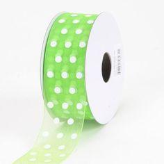 Organza Polka Dot Ribbon Apple Green - 5/8 inch x 25