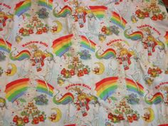 Rainbow Brite flat twin bedsheet 80s by GlazyDaysandNights on Etsy