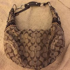Coach Hobo Purse Signature Coach Logo; Hobo; Buckle Metal and Leather Accents Coach Bags Hobos
