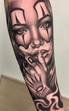 tätowieren - Famous Last Words Chicanas Tattoo, Skull Girl Tattoo, Girl Face Tattoo, Clown Tattoo, Forarm Tattoos, Leg Tattoos, Body Art Tattoos, Girl Tattoos, Maori Tattoos