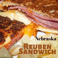 Nebraska claims to have been the place where the Reuben sandwich was first invented. The story goes, a group of guys meeting to play poker. Reuben Sandwich, Grilled Sandwich, Best Sandwich, Chipped Beef, Russian Dressing, State Foods, Getting Hungry, Slice Of Bread, World Recipes