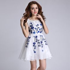Women Floral Embroider Organza Dresses Slim Ruffles Party Dress Sleeveless High Quality Fashion Dresses Online with $30.83/Piece on Smartmart's Store | DHgate.com
