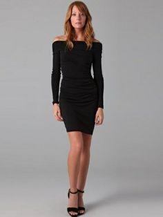 Sheath / Column Bateau Long Sleeves Short / Mini Chiffon Black Little Black Dresses  $104.99