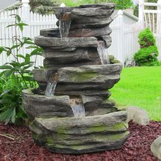 Sunnydaze Electric Lighted Cobblestone Waterfall Fountain with LED Lights, 31 Inch Tall
