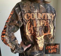 Country Life Outfitters Bone Realtree Camo Orange Deer Skull Head Hunt Vintage Unisex Long Sleeve Bright T Shirt