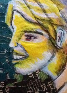 Boceto. Sobre papel Kimberly. Collage. Papel periódico. Vinilo y lápices de colores.