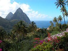 Soufriere, Saint Lucia (view of The Pitons from La Haut Plantation)