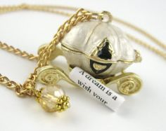 Secret Message Necklace - Cinderella Carriage Necklace - Gold Locket Necklace - Personalized Locket