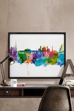 Vienna watercolor skyline Wien Austria cityscape by iPrintPoster