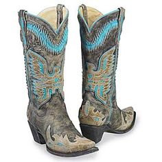 RODEO REBEL BOOTS Bronze Studded Aqua Turquoise Genuine Leather