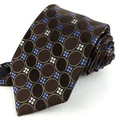 MICHAEL KORS 59 Skinny Espresso Brown Blue White Circles Squares Silk Neck Tie | Men's Fashion | Gentleman Style | Shop Menswear at designerclothingfans.com