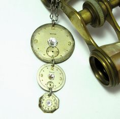 Vintage watch faces necklace exclusive design by Mystic Pieces