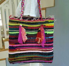 Rag rug bag, rug beach bag, bohemian handbag, beach tote, bohemian shoulder bag, woven rug bag, fun in the sun, gift women, present for her