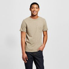 Men's Crew Neck Fashion Rolled Sleeve T-Shirt with Pocket Brown Xxl - Mossimo Supply Co.