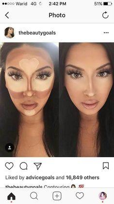Make-up Konturierung - Makeup Tips Highlighting Makeup 101, Makeup Goals, Free Makeup, Makeup Inspo, Makeup Inspiration, Drugstore Makeup, Makeup Products, Makeup Ideas, Nose Contouring