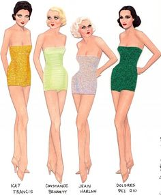 Kay Francis, Constance Bennett, Jean Harlow, and Dolores del Rio paper dolls by Gregg Nystrom. Love them. / Facebook