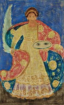 Leilão:Dezembro de 2005  Título:Santa Luzia  Descrição: pastel s/ papel, ass. inf. dir. (1960)  72 x 44 cm