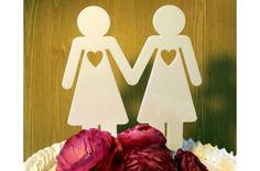 Cake topper mariage lesbien couple féminin - blanc