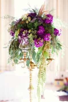 Purple & Chic Nature Inspired Wedding - Every Last Detail Wedding Rehearsal, Mod Wedding, Purple Wedding, Wedding Reception, Green Centerpieces, Rustic Wedding Centerpieces, Wedding Decorations, Bridal Flowers, Bridal Bouquets