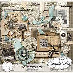 Digital Scrapbook Kit, After Five Designs::Full Kits::Remember by Laurie Ann {complete kit}