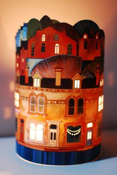 Bunting Lantern by Kate Lycett, an artist famous for her rich & textural stitched paintings of the town of Hebden Bridge. Her lanterns have been printed & lasercut with the greatest detail / Radiance