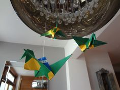 Decoração Copa do Mundo 2014 Brasil - Verde, Amarelo, Azul e Branco Origami Bandeira