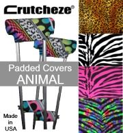 http://www.crutcheze.com/OnlineCatalog/CRUTCH_COVERS__GRIPS__PADS-list.aspx.  Check out our website to see all of our new prints of crutch covers, bags and other accessories. We also have a lot to choose from out of the sales and clearance sections. We can meet your need when it comes to healing in style. #madeinamerica