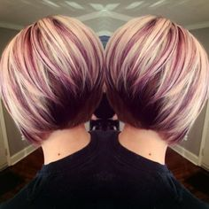 Holiday makeup looks; promo makeup looks; wedding makeup looks; makeup looks for brown eyes; glam makeup looks. Angled Bob Hairstyles, Cool Hairstyles, Hairstyle Ideas, Stacked Haircuts, Pixie Haircuts, Short Hair Cuts, Short Hair Styles, Razor Cut Hair, Short Pixie