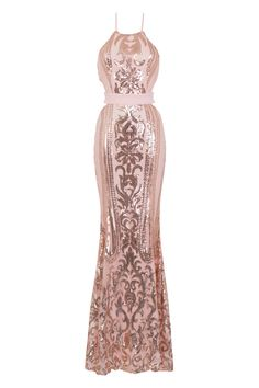 c1603e360d2 NAZZ COLLECTION AYISHA LUXE ROSE GOLD VICTORIAN SEQUIN ILLUSION EXPOSED FISHTAIL  GOWN PARTY PROM EVENING MAXI