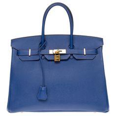 Sacs à main Hermès Hermès Birkin 35 en epsom bleu électrique, garniture en métal plaqué or Cuir Bleu ref.179974 - Joli Closet