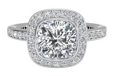 Halo Micropavé Diamond Band Engagement Ring - in Palladium (0.30 CTW)