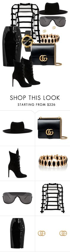 """""""Untitled #45"""" by iamchictrend on Polyvore featuring Maison Michel, Gucci, Kendall + Kylie, Irene Neuwirth, Acne Studios, Balmain and Topshop Unique"""