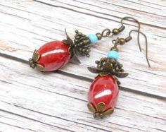 red bohemian earrings red earrings red beaded earrings por Minouc