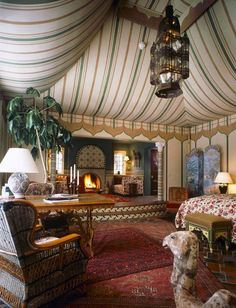 Eye For Design: Decorating Moroccan Style.Elegant and Exotic Moroccan Design, Moroccan Decor, Moroccan Style, Tent Room, Glam House, Moroccan Bedroom, Luxury Tents, Interior Decorating, Interior Design