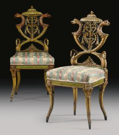 date unspecified An Italian neoclassical polychrome-painted and carved chair, attributed Michelangelo Pergolesi late century Estimate — USD LOT SOLD. European Furniture, Italian Furniture, Antique Furniture, Painted Furniture, Muebles Art Deco, Sofas, Custom Made Furniture, Wholesale Furniture, Antique Chairs