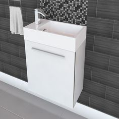 Cutler Kitchen & Bath Boutique 18-in Wall Hung Space Saving Vanity | Lowe's Canada