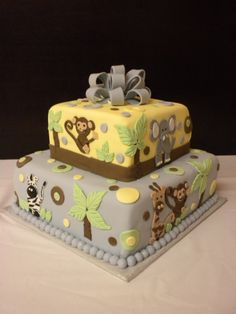 Jungle-themed baby shower cake that I made