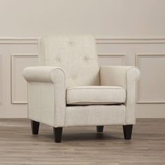 Upholstered Club Chair Beige Linen Tufted Living Room Furniture Durable  | eBay