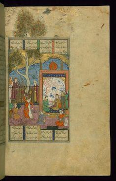 Siyavush Marries Farangis -  Shahama (Walters manuscript) Firdawsi (Persian, died 411-416 AH/AD 1020-1025) (Author) Muhammad Mirak ibn Mir Muhammad al-Husayni al-Ustadi (Scribe) Herat (?), 1028 AH/AD 1618-1619 ink and pigments on laid paper ACCESSION NUMBER W.602.128B MEASUREMENTS H: 14 3/8 x W: 9 1/4 in. (36.5 x 23.5 cm) The Walters Museum