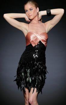 Black Sheath/Column Spaghetti Straps Empire Short/Mini Sleeveless Bow,Feathers/Fur Prom Dresses Dress