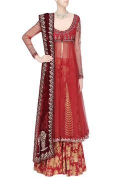 Red embroidered anarkali with printed palazzos and velvet dupatta available only at Pernia's Pop Up Shop.